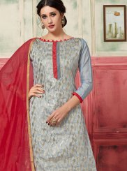 Grey Jacquard Silk Designer Suit