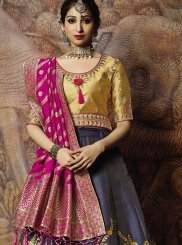 Grey Jacquard Silk Thread Trendy Lehenga Choli