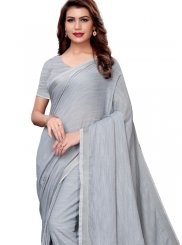 Grey Linen Casual Casual Saree