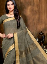Grey Linen Trendy Saree