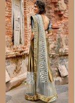 Grey Lycra Lace Traditional Saree