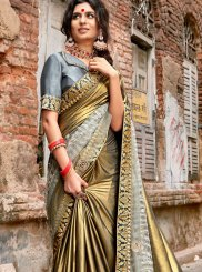 Grey Lycra Lace Traditional Saree