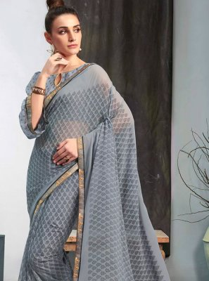 Grey Mehndi Casual Saree
