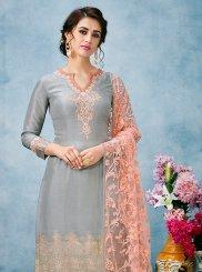 Grey Mehndi Jacquard Silk Designer Salwar Suit