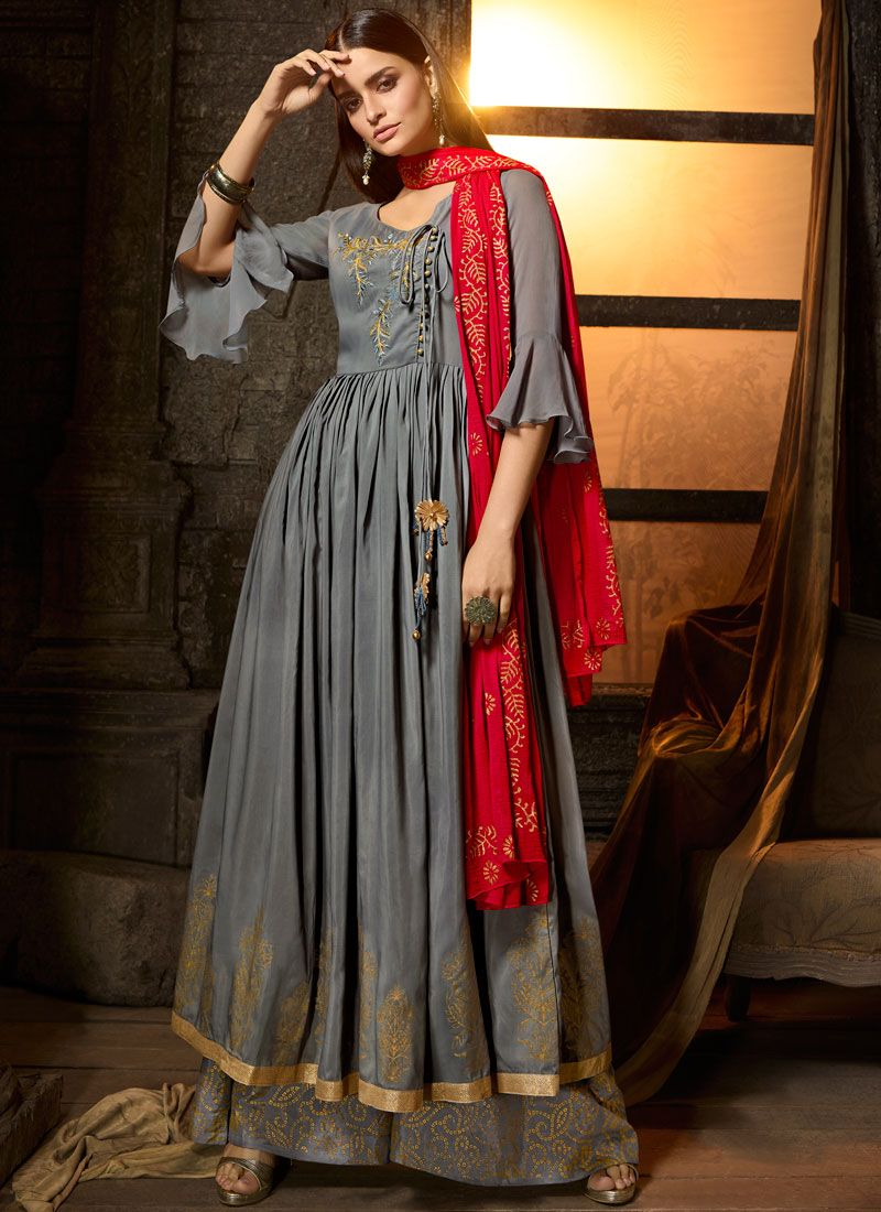 Grey Mehndi Muslin Designer Salwar Suit