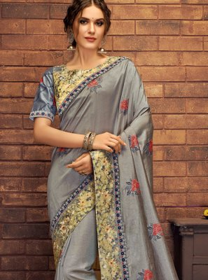 Grey Mehndi Silk Saree