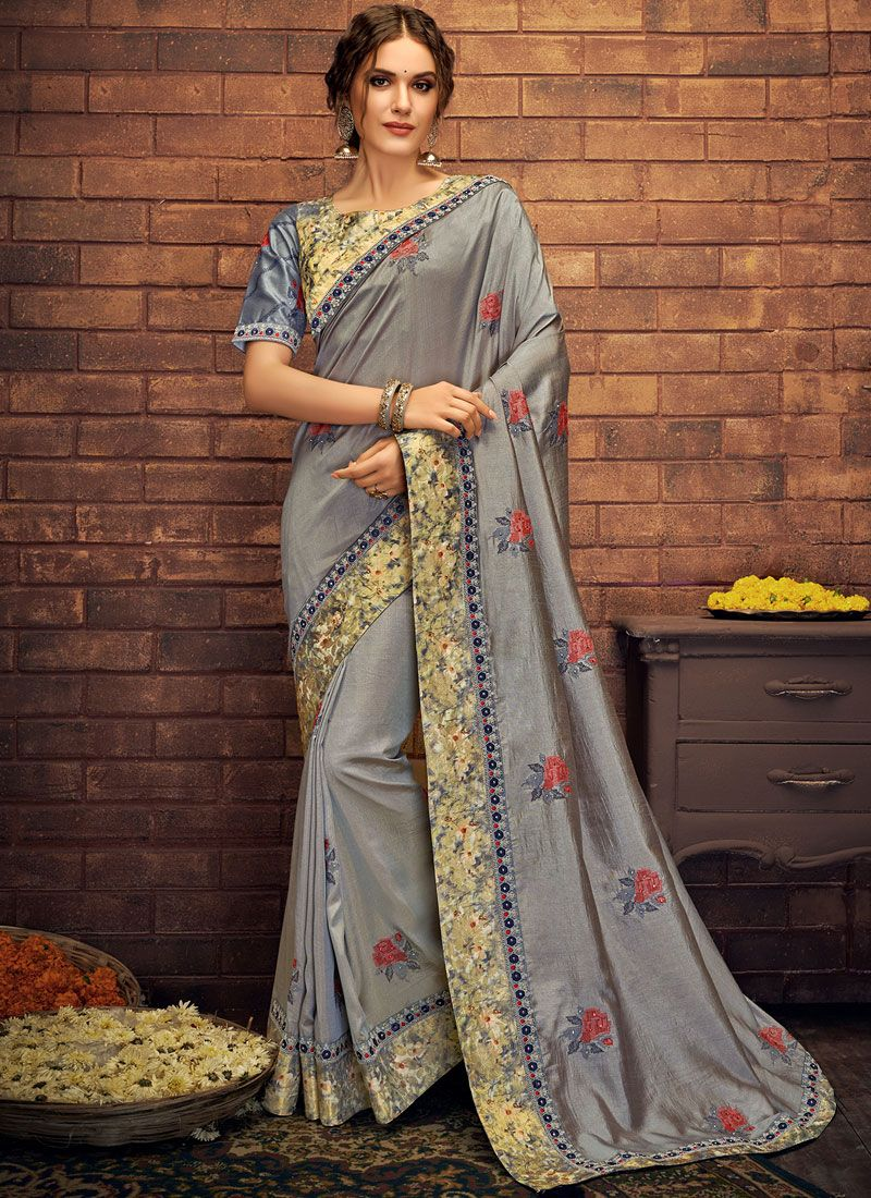 Grey Mehndi Silk Saree