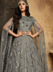 Grey Net Anarkali Salwar Suit