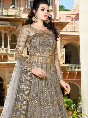 Grey Net Ceremonial Long Choli Lehenga