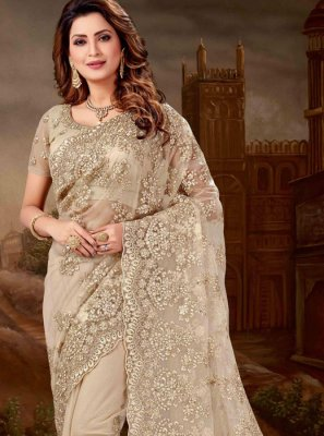 Grey Net Embroidered Classic Designer Saree