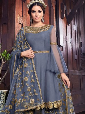 Grey Net Embroidered Designer Pakistani Suit