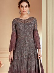 Grey Net Floor Length Anarkali Suit