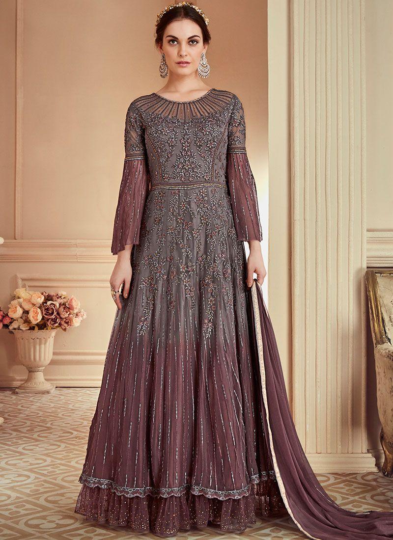 Grey Net Floor Length Anarkali Suit