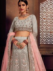 Grey Net Reception A Line Lehenga Choli