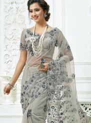 Grey Net Wedding Classic Designer Saree