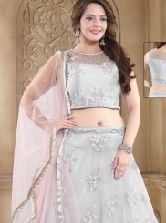 Grey Organza Readymade Lehenga Choli