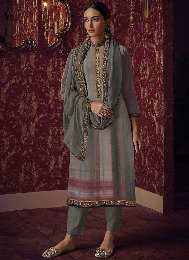 Grey Party Fancy Fabric Designer Pakistani Suit