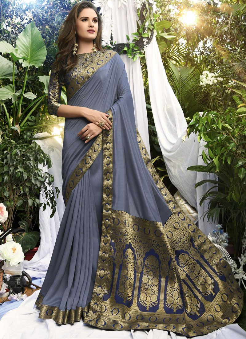 Grey Party Traditional Saree