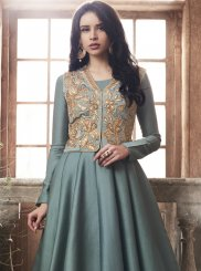 Grey Party Tussar Silk Anarkali Salwar Kameez