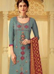 Grey Party Viscose Designer Salwar Suit