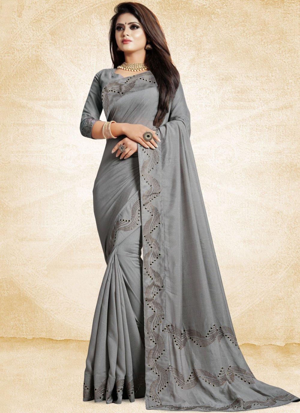 Grey Patch Border Art Silk Designer Traditional Saree