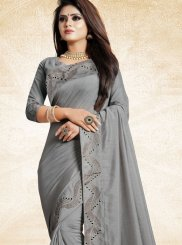 Grey Patch Border Art Silk Designer Traditional Saree