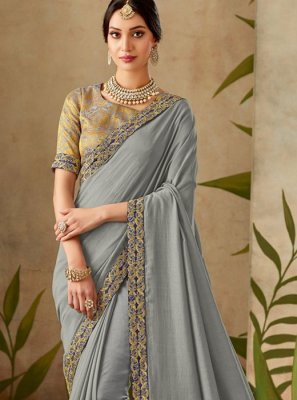Grey Patch Border Art Silk Traditional Designer Saree