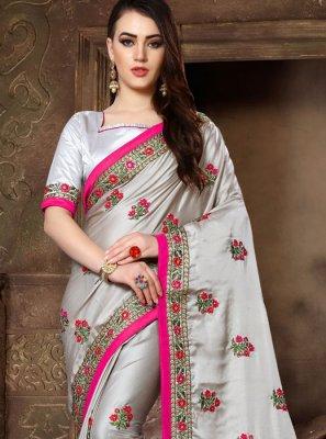 Grey Patch Border Art Silk Traditional Saree