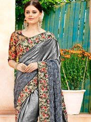 Grey Patch Border Net Saree