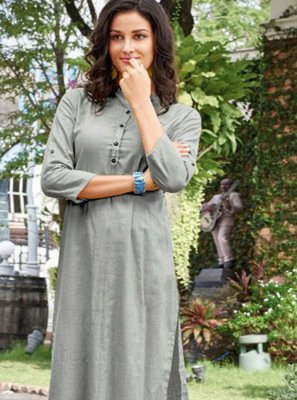 Grey Plain Casual Kurti