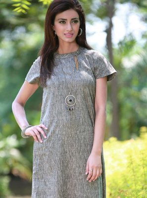 Grey Poly Cotton Casual Kurti