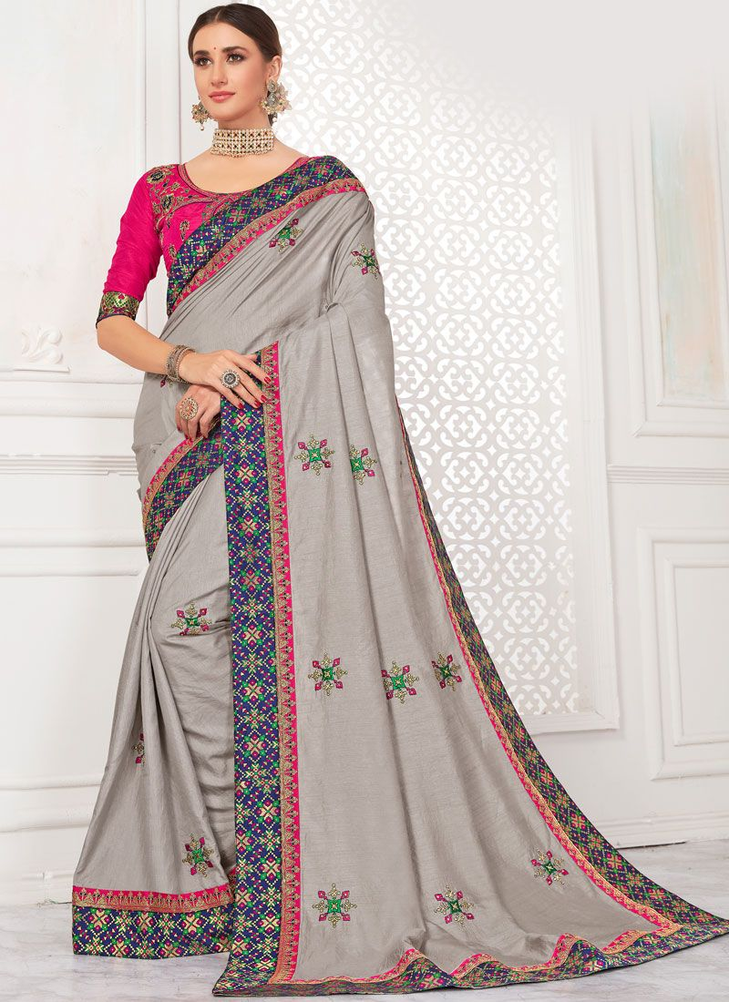 Grey Poly Silk Embroidered Trendy Saree