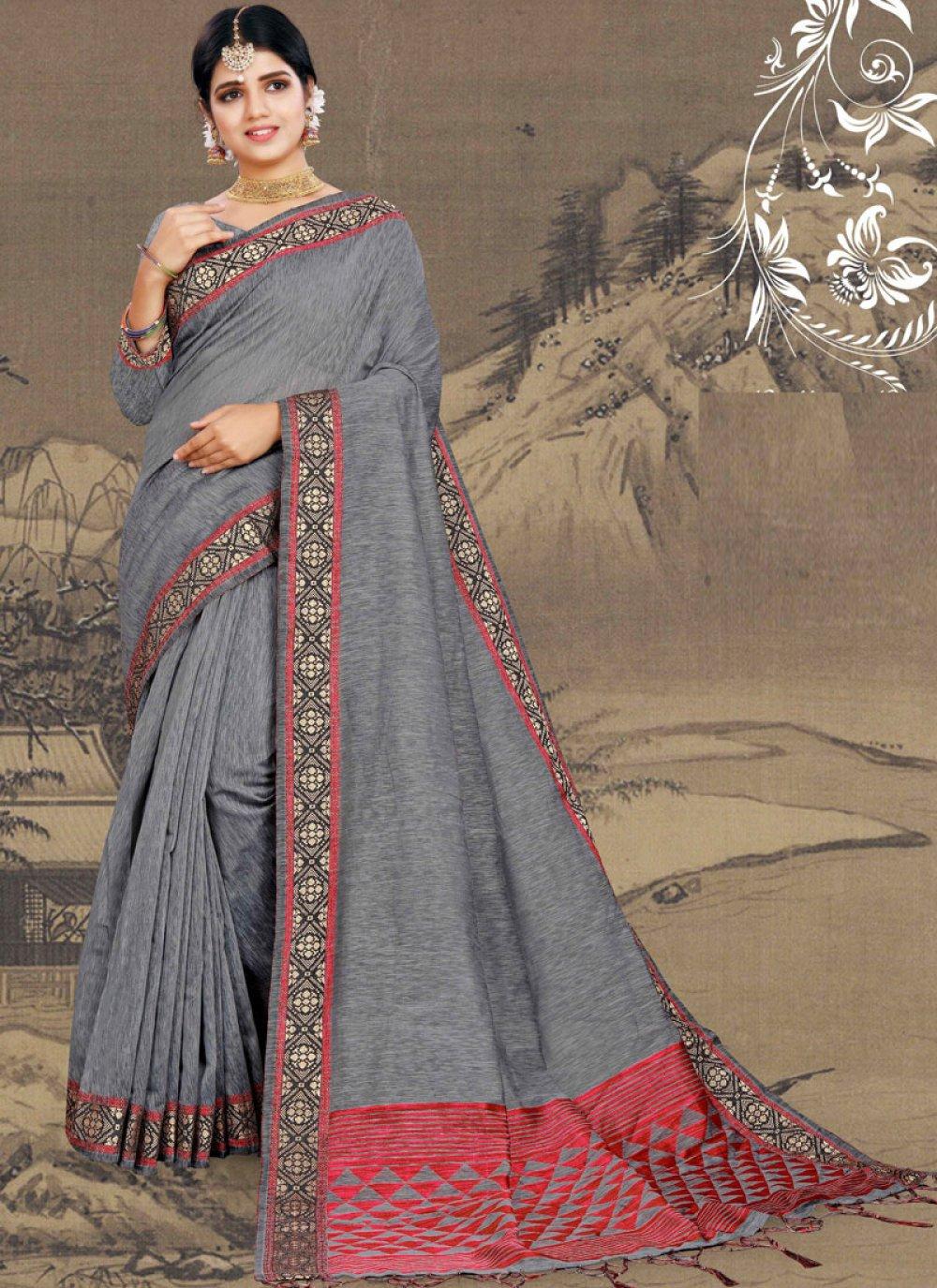 Grey Print Ceremonial Saree