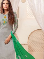 Grey Print Cotton Churidar Suit