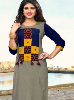 Grey Print Cotton Party Wear Kurti