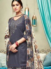 Grey Print Cotton Punjabi Suit
