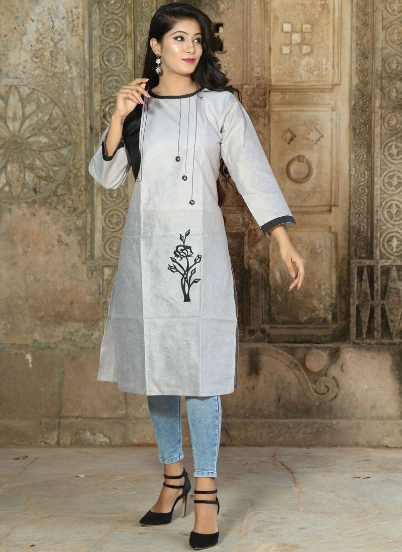 Grey Print Khadi Party Wear Kurti