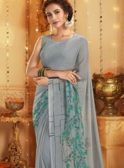 Grey Printed Cotton Casual Saree