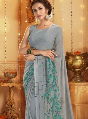 Grey Printed Cotton Casual Saree