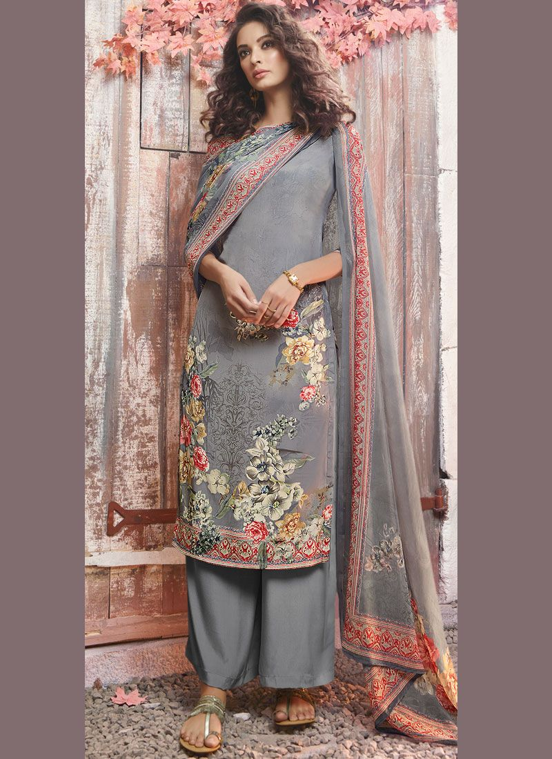 Grey Printed Faux Crepe Pant Style Suit