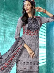 Grey Printed Faux Crepe Salwar Suit