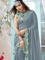 Grey Printed Faux Georgette Traditional Designer Saree