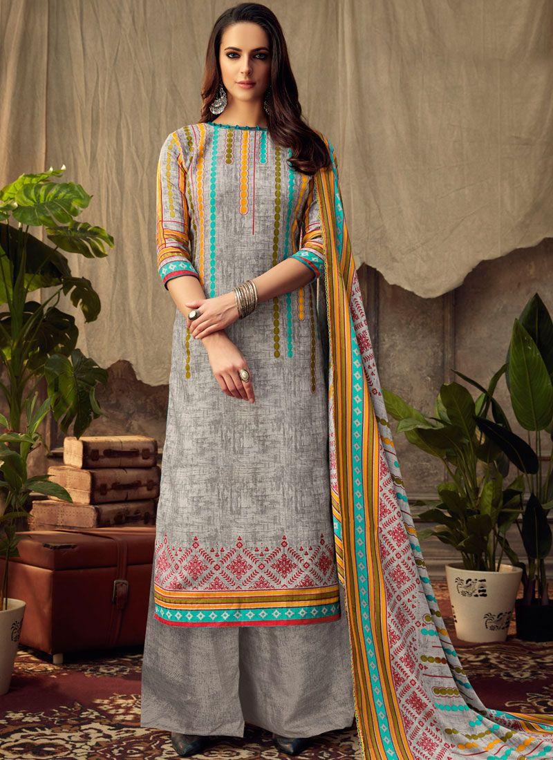 Grey Printed Pashmina Palazzo Salwar Suit