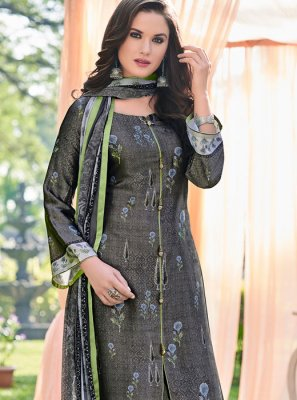 Grey Printed Satin Pant Style Suit