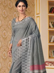 Grey Printed Trendy Saree