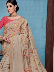 Grey Raw Silk Traditional Designer Saree