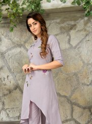 Grey Rayon Festival Party Wear Kurti