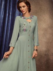 Grey Rayon Party Wear Kurti
