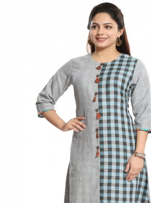 Grey Reception Cotton Casual Kurti