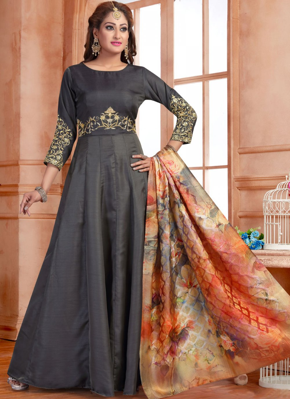 Grey Reception Silk Readymade Anarkali Salwar Suit